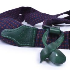 BLUE & GREEN PAISLEY Wool and Leather Braces