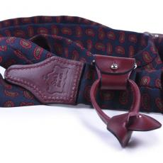 BLUE & OXBLOOD PAISLEY Wool and Leather Braces