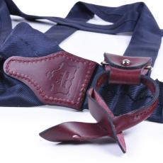 NAVY BLUE Silk and Leather Braces