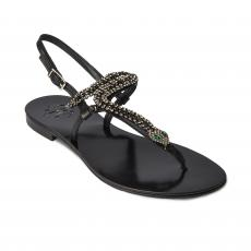 SNAKE Black with Transparent Crystals Embellished Sandals