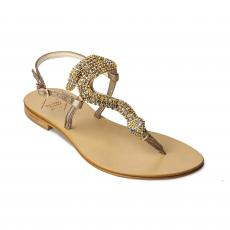 SNAKE light with Golden Crystals Embellished Sandals