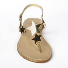 STARS Golden Crystals-embellished leather sandals