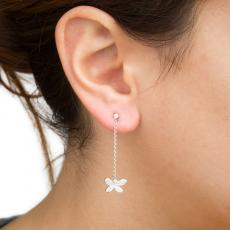 BUTTERFLY White Gold, Silver and Pave Diamonds Dangling Single Earring