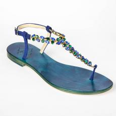 SUEDE Blue Multistones-embellished leather sandals