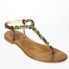 SUEDE Brown Multistones-embellished leather sandals
