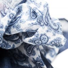 White with Blue Paisley Linen Handkerchief
