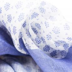 White with Light Blue Flowers Linen Handkerchief