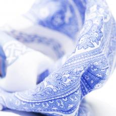 White with Light Blue Paisley Linen Handkerchief