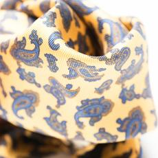 Yellow with Blue Paisley Silk Handkerchief
