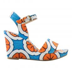 Orange, White and Azure Canvas Wedge Sandals
