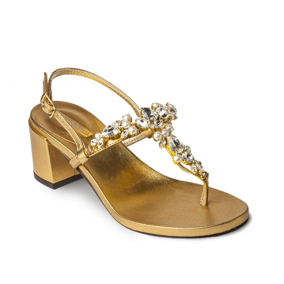 GOLDEN Heel with Pearls Embellished