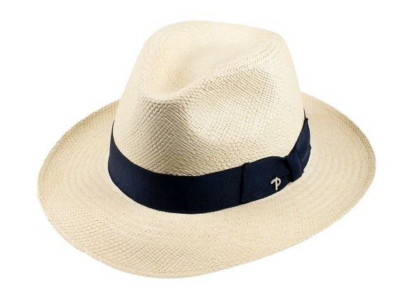 QUITO Classic Toquilla Straw Panama Hat with Blue Ribbon fa3ab65483db