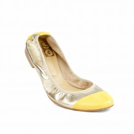 Bicolor Silver/Yellow Folding Leather Ballet Flats