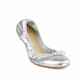 Silver Folding Leather Ballet Flats