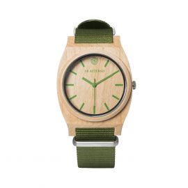 AB AETERNO ROUTE GREEN with GREEN WATCHBAND Maple Wood Unisex Watch