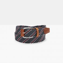 ADRIANO MENEGHETTI REGIMENTAL Blue Elastic Braided Rayon Belt