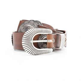 ADRIANO MENEGHETTI CONCHO Cognac leather belt
