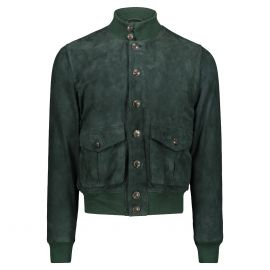 ATACAMA Cary Dark Green Goatskin Suede A1 Bomber Jacket