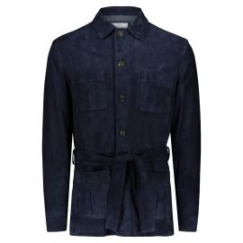 ATACAMA Robert Blue Goatskin Suede Safari Jacket