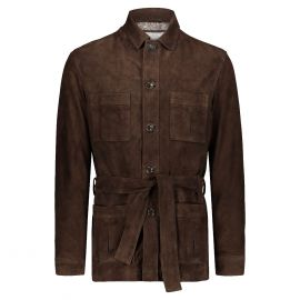 ATACAMA Robert Dark Brown Goatskin Suede Safari Jacket