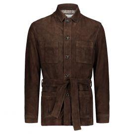 ATACAMA Robert Dark Brown Goatskin Suede Safari Jacket