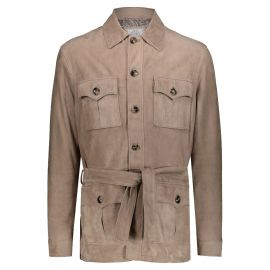 ATACAMA Robert Dove Grey Goatskin Suede Safari Jacket
