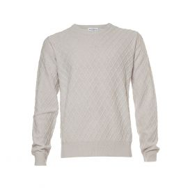 BALLANTYNE 1921 Cream Diamond Intarsia Round-Neck Pullover