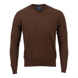 BALLANTYNE 1921 Brown 3D Diamonds 100% Cotton V-Neck Sweater