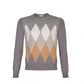 Grey, Camel and White Diamond Intarsia 100% Cashmere Round-Neck Pullover