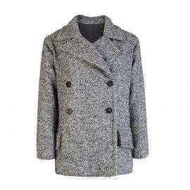 Grey and White Herringbone Virgin Wool Double-Breasted Chunky Coat