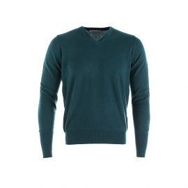 DOUGAL Dark Green 100% Cashmere V-Neck Pullover