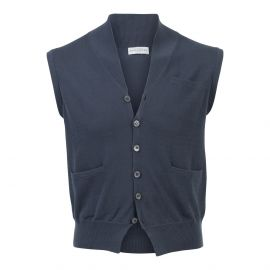 Grey 100% Cotton V-Neck Gilet