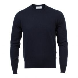 Navy Blue Cotton&Cashmere Round-Neck Sweater