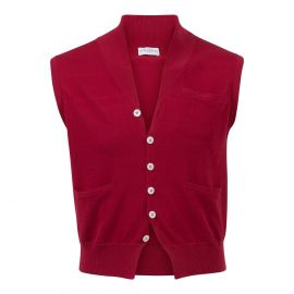 Red 100% Cotton V-Neck Gilet