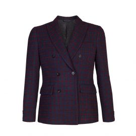 Blue and Bordeaux Checked Virgin Wool-Blend Double-Breasted Slim Fit Blazer