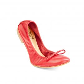 Red Folding Leather Ballet Flats