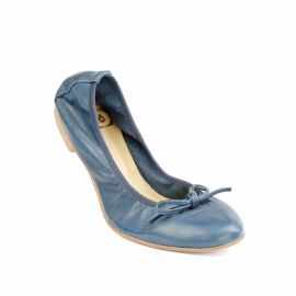 Blue Folding Leather Ballet Flats
