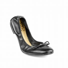 Black Folding Leather Ballet Flats