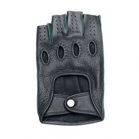 Black Leather with Emerald Green stitching Fingerless Driving Gloves