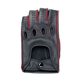 Black Leather with Red stitching Fingerless Driving Gloves