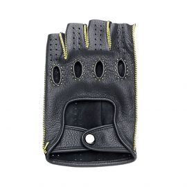 Black Leather with Yellow stitching Fingerless Driving Gloves