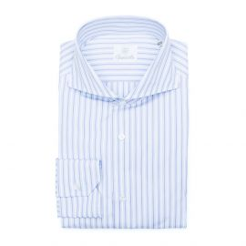 CANARY WARF White and Blue Stripes Double Twisted Cotton Shirt