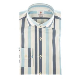 CORDONE 1956 Azure and Blue Striped Cotton Limited Edition Shirt