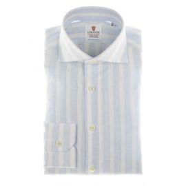 CORDONE 1956 Azure Broad Stripes Linen Shirt