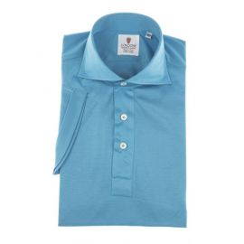 CORDONE 1956 Azure Cotton Jersey Short-Sleeve Polo Shirt