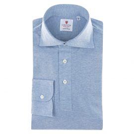 CORDONE 1956 Azure Jersey Polo Shirt