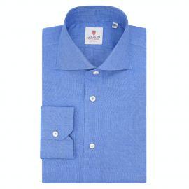 CORDONE 1956 Azure Linen Shirt