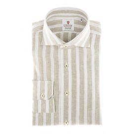 CORDONE 1956 Beige Broad Stripes Linen Shirt
