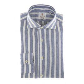 CORDONE 1956 Blue Broad Stripes Linen Shirt