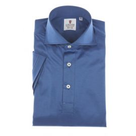 CORDONE 1956 Blue Cotton Jersey Short-Sleeve Polo Shirt
